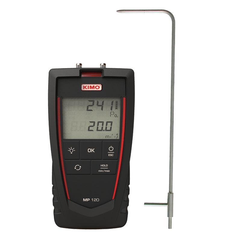 Medidor de presión diferencial y velocidad de aire con tubo